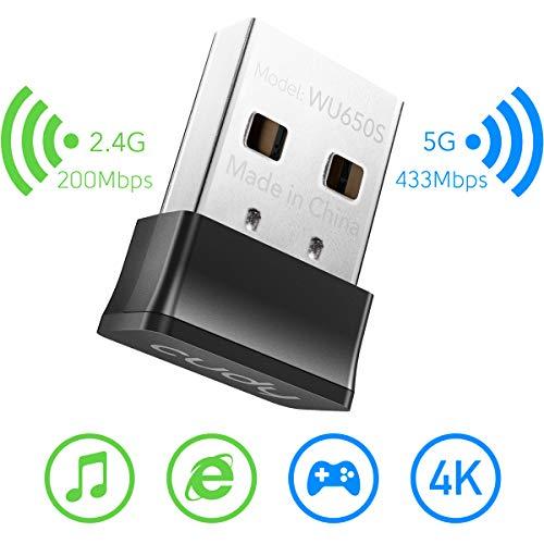 Cudy WU650S AC 650Mbit/s drahtloser USB WLAN Adapter für PC mit SoftAP Modus Nano Größe, Kompatibel mit Windows XP/ 7/8 / 8.1/10, Mac OS 10.9-10.15