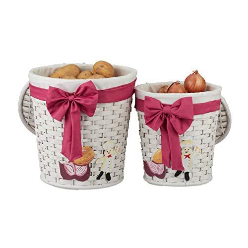 Relaxdays bewaarmand 2-delige set, mand voor brood, broodjes of aardappelen, decoratieve mand voor keuken, met deksel, wit, bamboe
