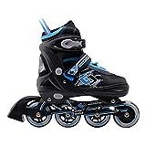Rollers Professionneles pour Enfants/Adolescents/Adultes - à Taille réglable, roulis Avant Luminous - Noir/Bleu L (38-41)