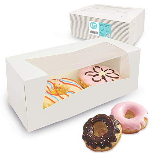 "[25 Pack] 9x4x3.5"" White Donut/Bakery Box with Window - Auto-Popup Cardboard Gift Packaging and Baking Containers, Cupcake, Cookie and Loaf Bread Boxes"
