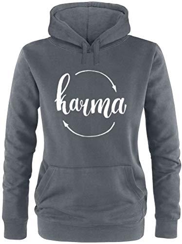 AngryShirts Karma Pullover Damen   Frauen Kapuzenpullover   Hoodie
