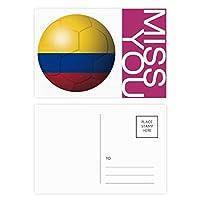 コロンビア国旗サッカーワールドカップ ポストカードセットサンクスカード郵送側20個ミス