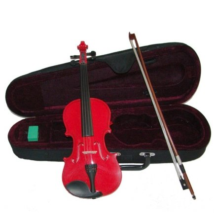 red violin with cases Merano MV300RD 1/10 Size Red Violin with Case and Bow+Extra Set of String, Extra Bridge, Rosin