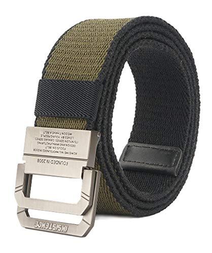 Longwu Cintura tattica casual con fibbia a doppio anello a D in tela militare da uomo Verde
