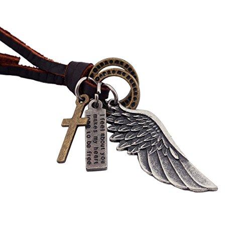 DonDon Herren Lederhalskette braun mit einem Flügel, Ringen, Kreuz und Schrift Tag in einem schwarzen Beutel