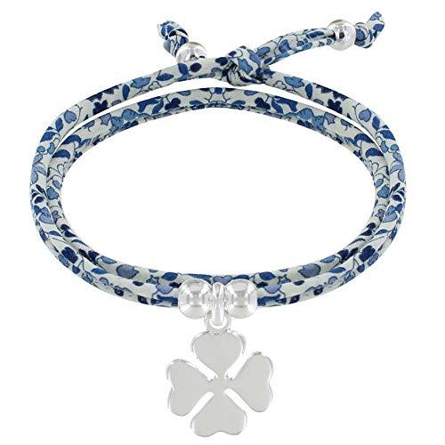 Schmuck Les Poulettes - Doppel Runde Link Armband Liberty und Silber 925 Klee - Colors - Blau Navy