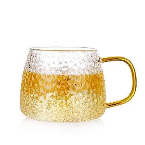 ZDZDZDZ - Taza de café de cristal con asa, 397 ml, tazas de té de café, tazas de café con leche y cerveza, vasos de macchiato