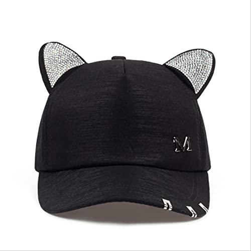 Gorra de Beisbol Gorras De Moda para Niñas De Verano Otoño Sombrero Negro