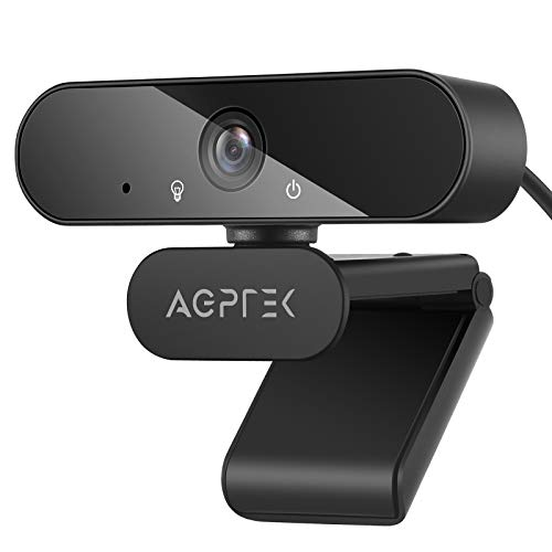 AGPTEK Webcam 1080P Full HD 105°con Micrófono Estéreo, Cámara Web con Trípode para Video Chat, Video Coferencia, Compatible con PC, Portátil, Window, Mac, Negro