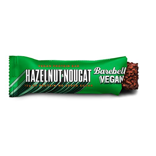 Barebells High Protein and Low Carb Bar, 12 x 55 g Low Sugar Snack Bar (Vegan - Hazelnut Nougat)