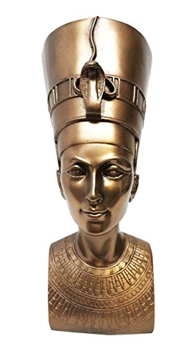 "Ebros Bronzed Classical Egyptian Queen Nefertiti Bust Statue 7""Tall Beautiful Queen Of Egypt Figurine Sculpture"