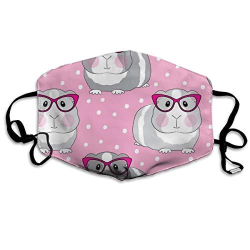 Mundmaske für Männer und Frauen, Hipster, Meerschweinchen, Rosa