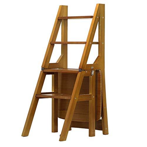 N&O Renovierungshaus 4 Stufen Hocker Holzpedalhocker Faltbare Trittleiter Tragbarer Haushaltstreppenstuhl Verdicken Pflanzenständer Leiter Max.150kg (Farbe:Helle Walnussfarbe)