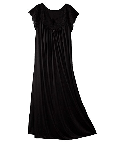 Shadowline Women's Silhouette 53 Inch Short Cap Sleeve Long Gown, Black, Medium (Apparel)