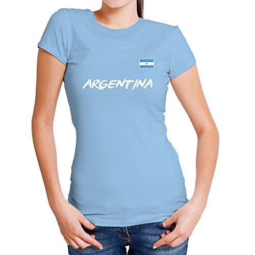 LolaPix Camiseta seleccion de fútbol Personalizada con Nombre y número. Camiseta de algodón para Mujer. Elige tu seleccion.Argentina