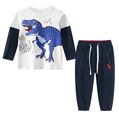Yilaku Conjuntos Niños Deportivos Ropa para Bebé Niño Traje Otoño Invierno Algodón Ajustable Cinturón Sudaderas Pantalones Chándal Infantil Disfraces (Dinosaurio Azul,6-8 años)