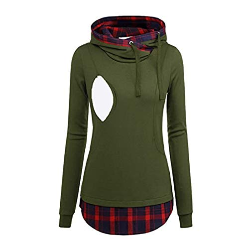 Jacket Women Long-Sleeve Hoodie Modern Plaid Patchwork Pullover Stretch Loose Drawstring Nursing Sweatshirt Comfortable Warm Tops Autumn Winter New Casual Transitional Coat M