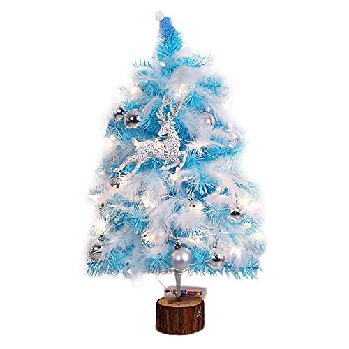 TETHYSUN Árbol de Navidad de mesa, 17.7 pulgadas, pequeños árboles de pino artificiales, bayas decorativas de pino con luces LED, adornos y base de madera para decoración de hogar y oficina