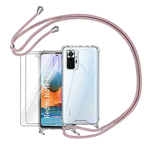 """AROYI Funda con Cuerda Compatible con Xiaomi Redmi Note 10 Pro/Note 10 Pro MAX 6.67"""" y 2 Pack Protector Pantalla, Carcasa Transparente TPU Silicona Colgante Ajustable Collar Correa Cordón Oro Rosa"""