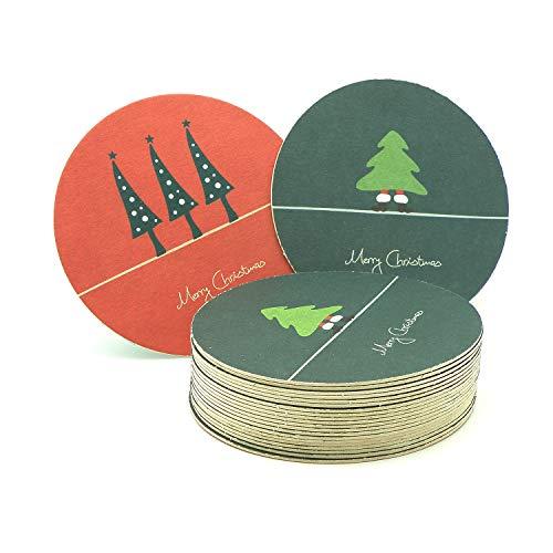 ExtraPapeterie Bierdeckel, Untersetzer Weihnachtsbaum - Merry Christmas Rot und Grün - 100 Stück