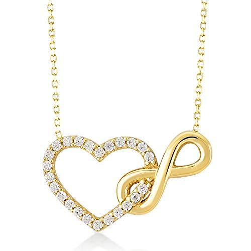 Damen Halskette aus Gold 14 Karat - 585 Echt Gelbgold mit Unendlichkeit und einem Herz verbunden als Anhänger, Zirkonia Steinen, Endlos Liebe - Geschenk für Valentinstag Geburstag - Kette 45 cm