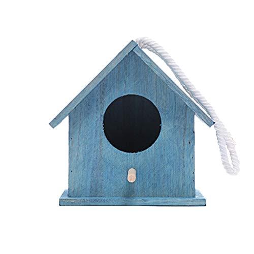 Pet Wood Amaraket Duradero Cría Nessing Bird Aviary Caja de Jaula 16.5x13.5x14.5cm Fácil de Limpiar (Color : Blue)