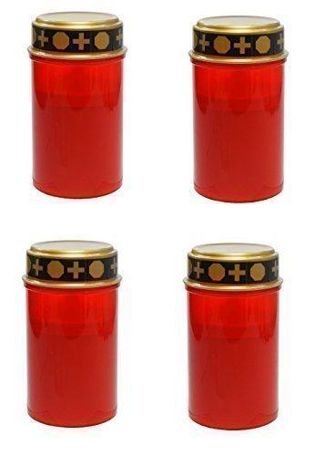 4er Set LED Kerze Grabkerze Grablicht Ewiges Licht Elektro flackerndem Kerzenschein Rot - Leuchtdauer bis ca. 180 Tage (für 2 x Baby LR14 Batterien - nicht enthalten)