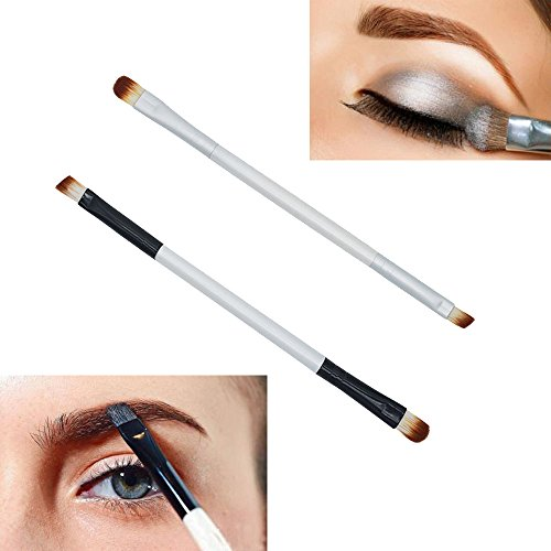 Article de mode noir et blanc Brosse de maquillage Fard à paupières à double extrémité Brosse à sourcils Applicateur Maquillage Outil cosmétique Pincel a Noir et blanc