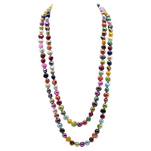 JYX Perlenkette Lang 7-8 mm unregelmäßige Süßwasser-Zuchtperle Schicht-Halskette für Frauen 121,9 cm