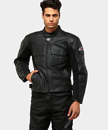 Zerimar KENROD Chaqueta de moto para hombre Piel auténtica y suave con protecciones Color negro Talla S