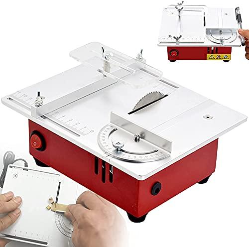 WXFCAS Sierra de mesa de mesa portátil, banco de sierra circular pequeño, 96W, ajuste de 7 velocidades, 9200R / min, cuerpo metálico, profundidad de corte 0-13mm ajustable para BRICOLAJE Modelo de mad