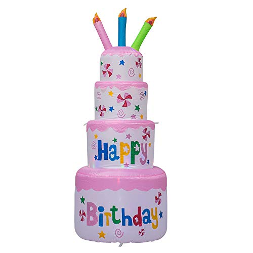 AJY 6 Feet Tall Cute Inflatable Happy Birthday Cake with Candle Blow Up Indoor Outdoor Yard Lawn Decoration