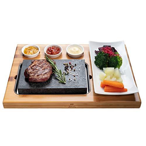 Beefstone Lavastein Steak-Brett Hot Stone Steingrill Set aus Bambusbrett Lavastone und Prozellan-Platte inkl. Saucen-Schälchen, Fettfrei und ölfrei: Steak, Fleisch, Fisch grillen auf heißem Stein