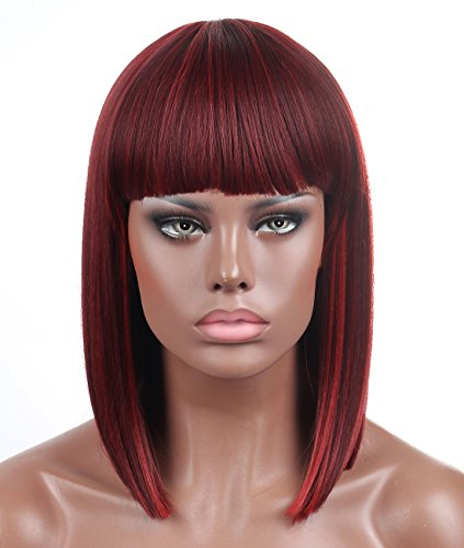 Kalyss Bob Short Hair Wig for Black Women Wine Red Mixed Color Heat Resistant Yaki Synthetic Hair Women's Wig With Hair Bangs (Mix Bordeaux)