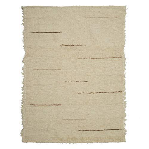 Alfombra rústica de Hilos Beige de algodón de 120x160 cm - LOLAhome