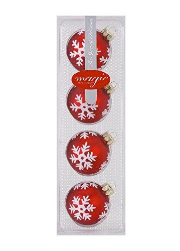 I. Christmas Decor SchmuckDesign-Nord Lot de 4 Boules de Noël avec Flocons de Neige Rouge Mat 6 cm