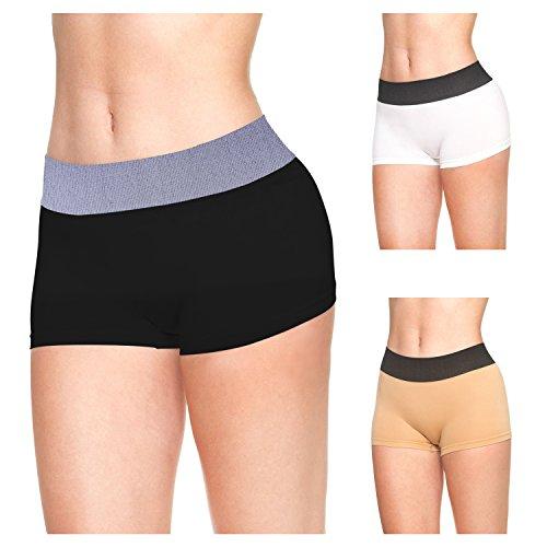 LastFor1 Women Underwear Boyshorts Panties Briefs Pack Plus Size 3 Pack M