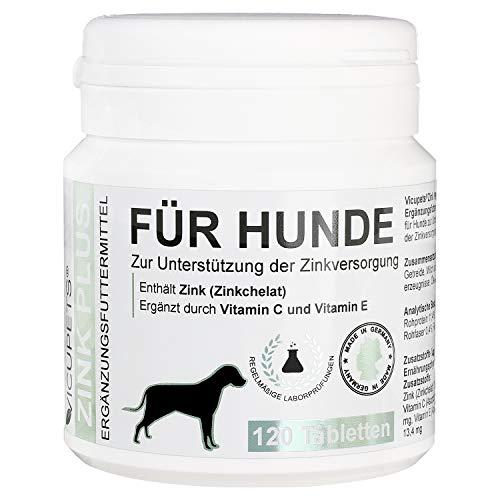 Vicupets® - 𝗭𝗶𝗻𝗸 𝗣𝗹𝘂𝘀 - 120 Tabletten - Zink für Hunde bei Juckreiz, Hautproblemen, Fellwechsel - Aufbaukur fürs Immunsystem