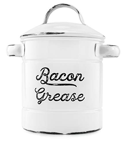 AuldHome Grease Container  White Enamelware Bacon Grease Can with Strainer  Farmhouse Style  Keto-Friendly