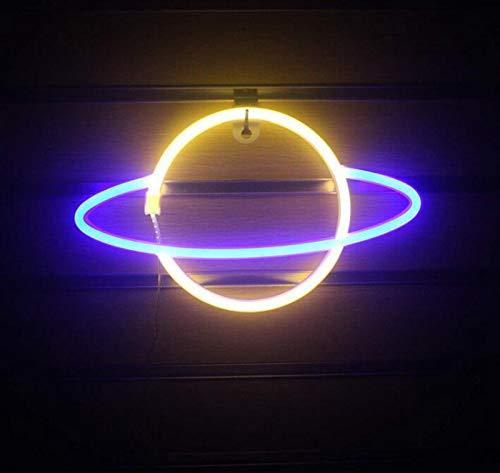DKZ LED-Planet Neon, Kinder Nachtlicht USB/Batterie Neonlichter Für Raumwand Kinderschlafzimmer Geburtstag Party Bar Strand Hochzeitsdekoration, 30 * 18 cm,Blue+Yellow
