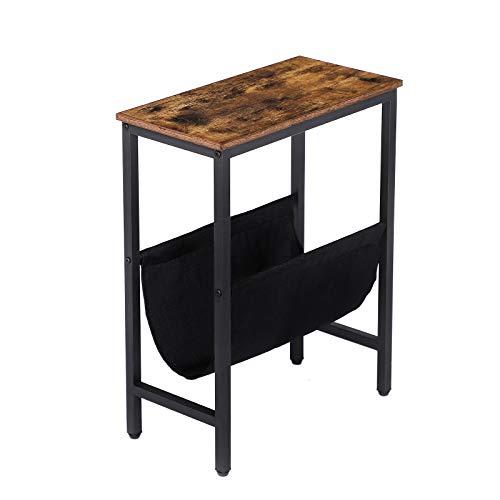 HOOBRO Beistelltisch schmal, kleine Sofatisch, Industriestil Nachttisch, mit Stauraum, Kaffeetisch, leicht zu montieren, stabil, Metallgestell, Schlafzimmer, Wohnzimmer, Dunkelbraun EBF41BZ01