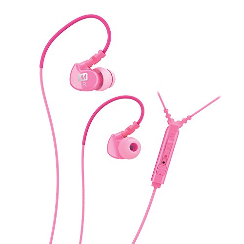 MEE audio Sport-Fi M6P Memory Wire In-Ear Headphones with Microphone, Remote, and Universal Volume Control (Pink)