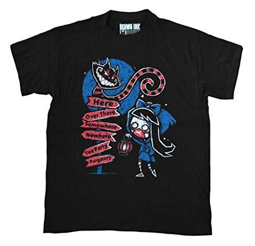 Akumu Ink - Herren Premium Tattoo Comic T-Shirt - Alice Nightmare Wonderland (Schwarz) (S-L) (M)