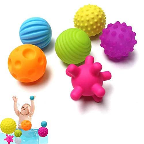 Textured Balls Sensory Toys Baby Fidget Toys, Multi Ball Set 6 Pack Soft Durable Massage Montessori Toys for Babies 6-12 Months Sensory Exploration and Engagement
