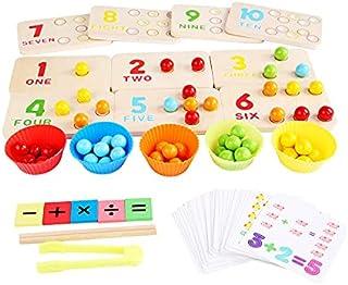OUZHOU Trä tidig pedagogiska leksaker Montessori träskiva färgglada pärlor matematikeräkning lärande multifunktionellt spe...