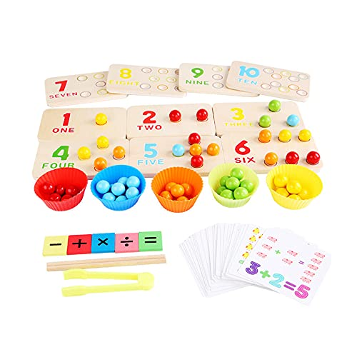 Juguetes educativos tempranos de madera Montessori Tablero de madera Cuentas coloridas Matemáticas Contando Aprendizaje Juego Multifuncional con Palillos y Clip para Niños Niño Hogar