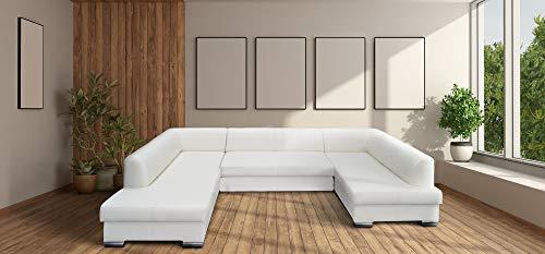 Quattro Meble Super großes Eckcouch aus weißem Echtleder Ecksofa U-Form London U 200x333x170 Sofa Couch mit Schlaffunktion, Bettkasten Echt Leder Eck Couch Ledersofa große Farbauswahl