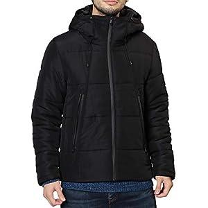 JIGGYS SHOP 中綿ダウンジャケット メンズ アウター 2タイプ 軽量 防寒 保温 ブルゾン L Aブラック