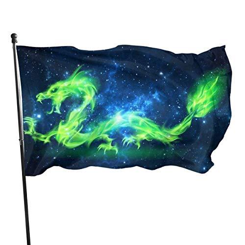 AGnight Flagge Premium Flagge Fahne Grüne Drachen Einseitig Bunt Polyester Flagge Fahne Banner für Outdoor Home Garden Decor 3x5 FT