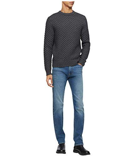 Calvin Klein Men's Wool Blend Crewneck Fall Holiday Sweater, Gunmetal Heather, Small